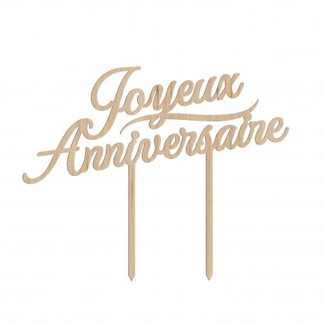 Cake topper en bois gâteau joyeux anniversaire calligraphie