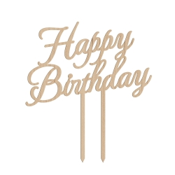 Cake topper anniversaire happy birthday calligraphie