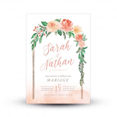 Faire-part mariage fleuri Arche Florale aquarelle
