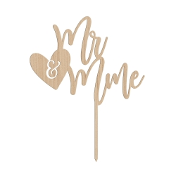 Cake topper mariage en bois mr & mme calligraphie