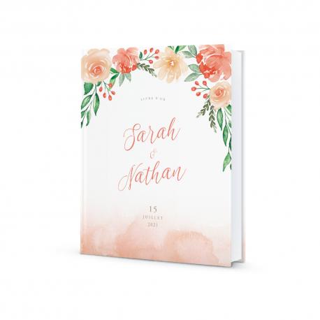 Livre d'or personnalisé mariage fleuri illustration aquarelle