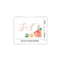Timbre personnalisé mariage modèle fleurs aquarelle