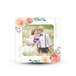 Carte de remerciement mariage fleurs champêtres aquarelle