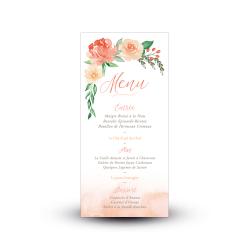 Carte de menu mariage fleuri Arche Florale