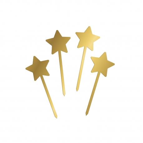 4 pics étoiles en plexiglas doré décoration gâteau