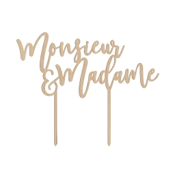Cake topper mariage en bois monsieur & madame calligraphie