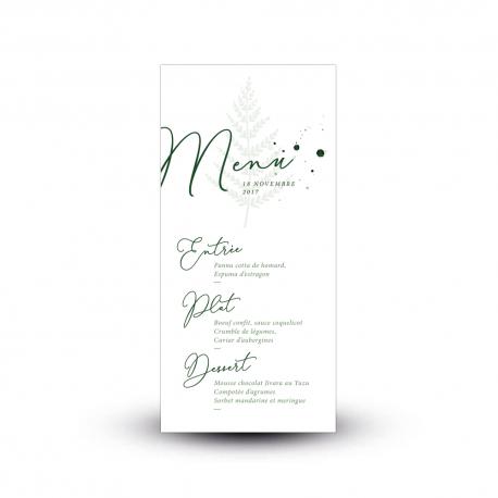 Carte menu mariage forêt fougère peinte à l'aquarelle