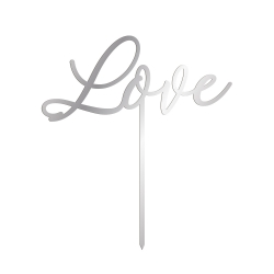 Cake topper love calligraphie plexiglas argent