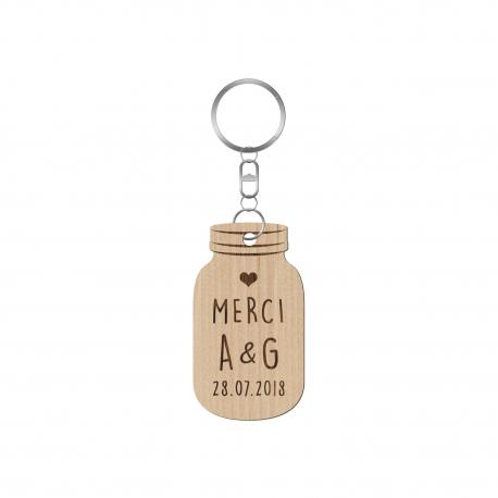 Porte-clé personnalisé mariage mason jar