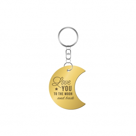 Porte-clé lune inscription love you to the moon and back