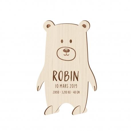 Faire-part naissance en bois ours, faire-part naissance original