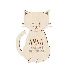 Faire-part naissance en bois forme chat