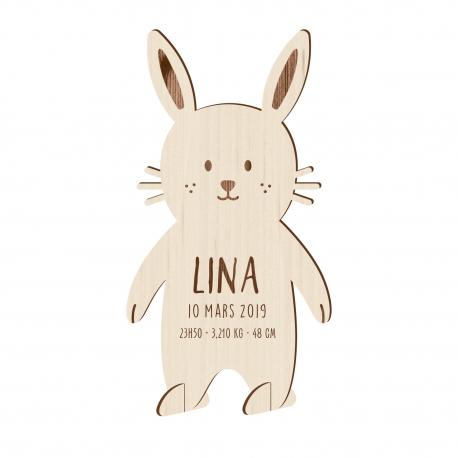 Faire-part naissance original en bois lapin