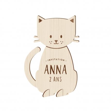 Invitation anniversaire en bois thème chat