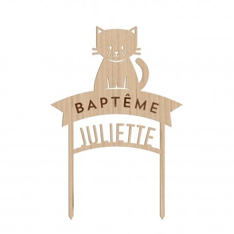 Cake topper chat baptême