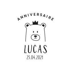 Tampon en bois personnalisable anniversaire tête d'ours 2