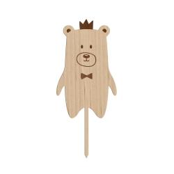 Cake topper en bois petit ours