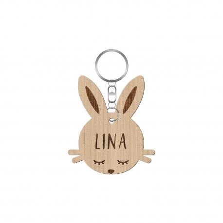Porte-clé en bois tête de lapin