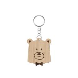 Porte-clé en bois tête d'ours