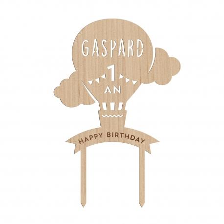 Cake topper anniversaire montgolfière personnalisé avec prénom