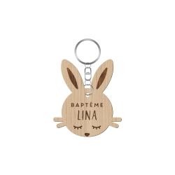 Porte-clé en bois tête de lapin baptême