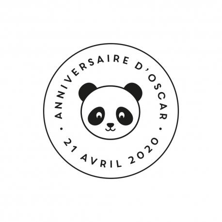 Tampon rond tête de panda anniversaire