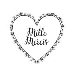 Tampon merci coeur en dentelle mariage