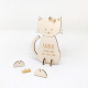 Faire-part baptême original en bois modèle chat