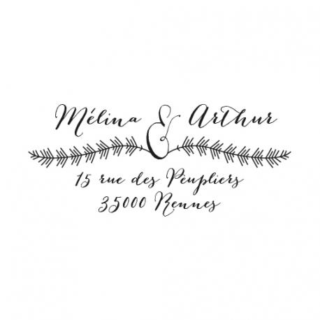 Tampon adresse calligraphie et plumes