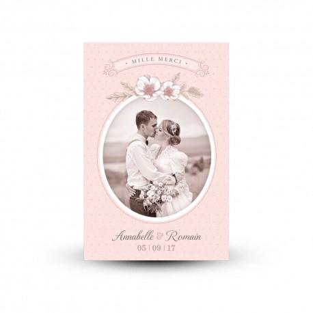 Carte de remerciement mariage personnalisée, mariage rétro Shabby Chic