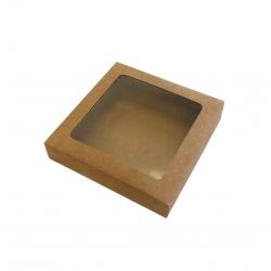 Boîte kraft carrée avec fenêtre transparente