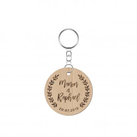 Porte-clé en bois personnalisé mariage champêtre fleuri