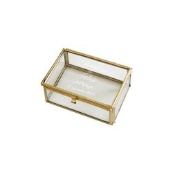 Boîte à alliances en verre rectangle personnalisée mariage
