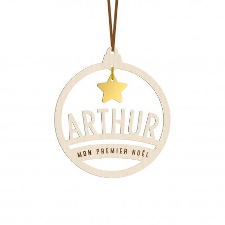 Boule de Noël en bois personnalisée avec prénom