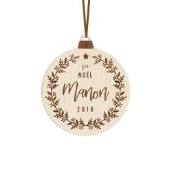 Boule de Noël en bois personnalisée Mon premier Noël