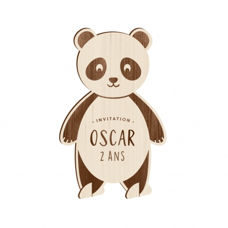 Invitation en bois originale anniversaire panda
