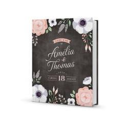 Livre d'or personnalisé mariage Ardoise Fleurie