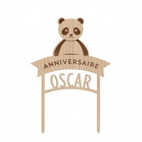 Cake topper anniversaire personnalisé thème panda