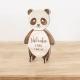 Invitation anniversaire en bois en forme de panda