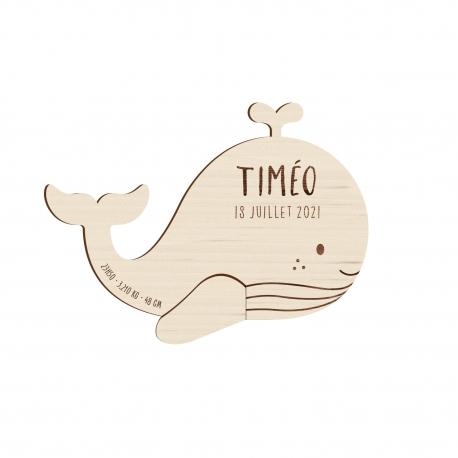 Faire-part naissance original en bois baleine