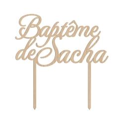 Cake topper baptême calligraphie
