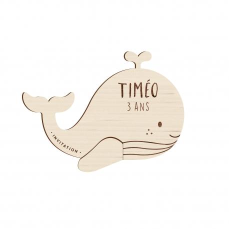 Invitation anniversaire baleine en bois