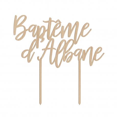 Cake topper baptême personnalisé calligraphie