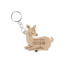 Porte-clé baptême personnalisé thème faon