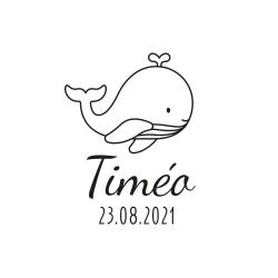 Tampon personnalisé naissance thème marin illustration baleine