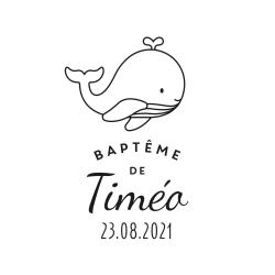 Tampon baptême personnalisé illustration baleine