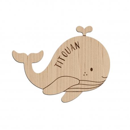 Enseigne murale personnalisée baleine chambre enfant
