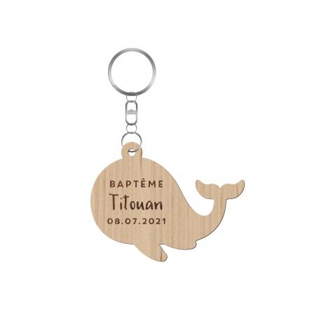 Porte-clé en bois personnalisé baptême thème marin