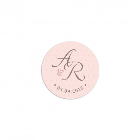Stickers mariage personnalisés Shabby Chic rose poudré