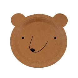 Assiette jetable en carton tête d'ours Meri Meri